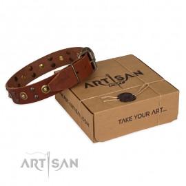 "Studded Tan Leather Dog Collar ""Unfailng Charm"" for Labrador"