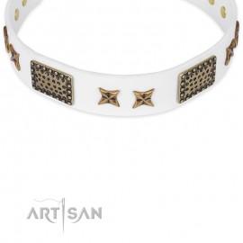 "Labrador White Leather Dog Collar ""Hour od Triumph "" FDT Artisan"