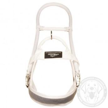 Weißes Blindenführhundgeschirr aus Nylon K9 für Labrador