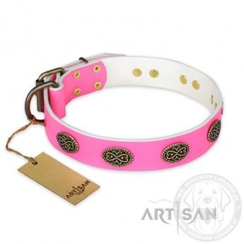 """Schickes pinkes Lederhalsband FDT Artisan """"Forever Fashion"""""""